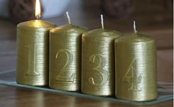 Svíčka válec metalik - adventní s čísly -  zlatá - 4ks