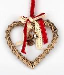 Ratanové srdce se zvonečky - závěs - větší