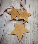 Hvězda dřevěná zlatá - 3ks
