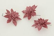 Vánoční květina růžová - 3ks