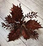 Květ poinsettia klip - hnědý s glitry
