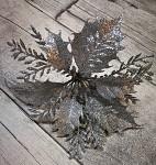 Květ poinsettia klip - stříbrný s glitry