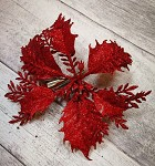 Květ poinsettia klip - červený s glitry