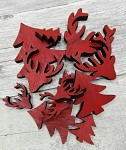 Dřevěné vánoční dekorace - mix motivů - červené