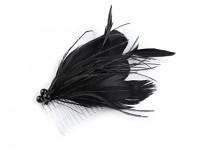 Fascinátor hřeben s peřím - černý