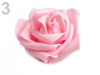 Pěnové hlavičky růží s lepítky - růžové- 10ks