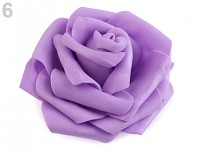 Pěnové hlavičky růží s lepítky - fialové- 10ks