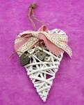 Srdce bílé proutěné - růžová mašle se srdíčky