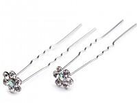 Stříbrné pérko se štrasovou kytičkou - crystal
