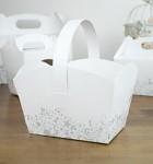 Svatební košíček na koláčky - bílý s motýly