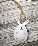 Zajíček plechový mini - bílá patina