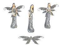 Víla malá s květinami 16 cm - šedá