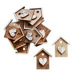 Dřevěná budka mix - šedohnědá - 6ks