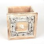 Dřevěný šuplík vintage hnědý - 18x18x18 cm