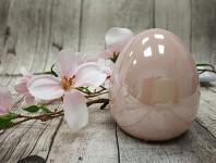 Vejce porcelán - růžová perleť - 7 cm