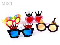 Párty narozeninové papírové brýle - mix