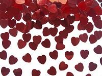 Konfety srdce - lesklé červené mini