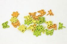Jarní dřevěný mix motivů - žlutá/zelená/oranžová