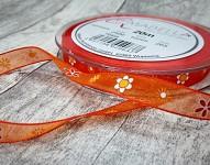 Stuha šifonová oranžová 10mm - tisk květinek - 1m