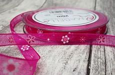 Stuha šifonová tm.růžová 10mm - tisk květinek - 1m
