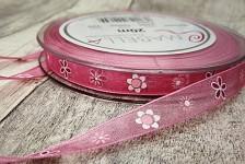 Stuha šifonová růžová 10mm - tisk květinek - 1m