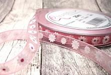 Šifonová stuha  10mm/1m s kopretinami - sv.růžová