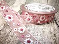 Šifonová stuha  20mm/1m s květinami - sv.růžová