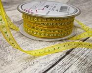 Šifonová stuha žlutá s minikvítky  6mm -1m
