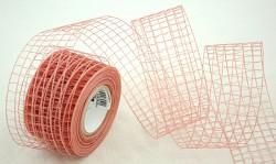 Stuha - síťka - škrobená - starorůžová - 1m