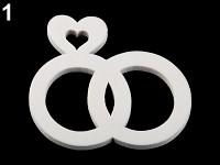 Dřevěná bílá dekorace 1ks - prstýnky