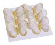 Motýl klip - třpytivý - rose gold