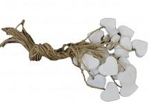 Srdíčko dřevěné na provázku - bílé 2cm - 1ks