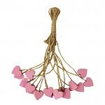 Srdíčko dřevěné na provázku - růžové 2cm - 1ks