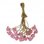 Dřevěný ptáček na provázku - růžový- 1ks