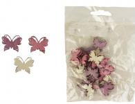 Motýlek dřevěný - růžovo-bílo-fialový mix - 24ks