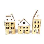 Domeček dřevěný - zeleno-oranžovo-žlutý mix - 12ks