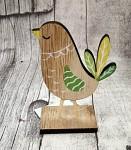 Kohoutek dřevěný  na stojánku - zeleno - žlutý