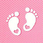 Ubrousky krémové - narození miminka nožičky