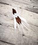 Vývazek velký s kytičkou - bílo- hnědý