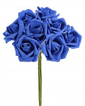 Pěnové tm.modré  růže s drátkem - 6 ks