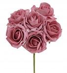 Pěnové tm.starorůžové  růže s drátkem - 6 ks
