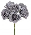 Pěnové tm.šedé  růže s drátkem - 6 ks