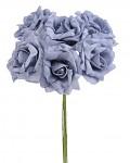 Pěnové šedomodré růže s drátkem - 6 ks
