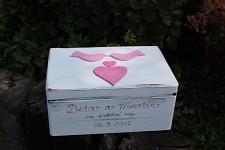 Dřevěná krabička na přání (peníze) - vintage -  ptáčci růžoví