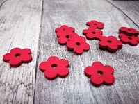 Dřevěné kytičky mini - červené - 20 ks