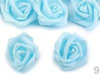 Pěnové hlavičky růží 4cm - modré -10ks