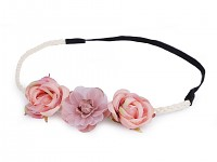 Pružná čelenka do vlasů s růžemi - růžová