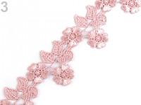 Krajka květinová 45mm - pudrově růžová- 1m