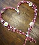 Věneček svatební fialový s krajkou - srdce - 19 cm