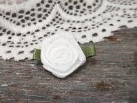 Saténová růžička s lístečky - bílá - 1ks